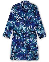 1ee427e8972 Lands  End - Multi Regular Boyfriend Tropical Palm Shirt Dress - Lyst
