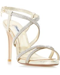 3345176a7 Dune - Gold  mansionn  Strappy Jewelled High Heel Sandals - Lyst