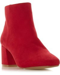 Dune - Red 'ohana' Mid Block Heel Ankle Boots - Lyst