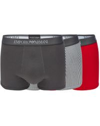 Armani - 3 Pack Assorted Plain And Striped Trunks - Lyst