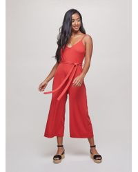 c250010c70e Miss Selfridge - Petite Rust Ribbed Tie Jumpsuit - Lyst