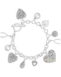 Red Herring - Silver Crystal Charm Bracelet - Lyst