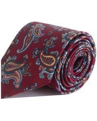 Double Two Paisley Print Tie - Red