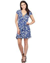 Izabel London - Blue Floral Wrap Tea Dress - Lyst