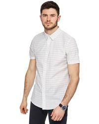 Red Herring - White Line Print Slim Fit Shirt - Lyst