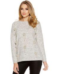 Quiz - Light Grey Knitted Pom Pom Jumper - Lyst