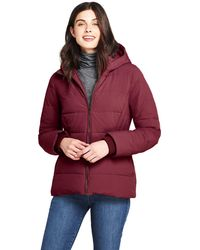 19920cecd7bbd Lands  End - Red Plus Hooded Faux Fur Lined Down Jacket With Stretch - Lyst