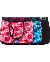 Red Herring - 3 Pack Assorted Plain And Camo Print Keyhole Trunks - Lyst