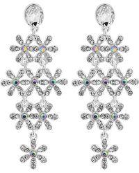 Lipsy Silver Crystal Daisy Drop Earrings Lyst