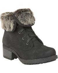 Lotus - Black Faux Fur 'bijou' Mid Block Heel Ankle Boots - Lyst