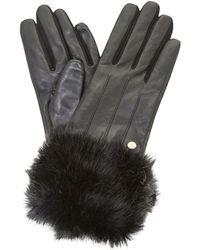 Dune - Black 'ionna' Faux Fur Trim Gloves - Lyst