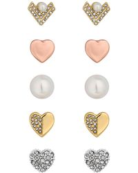 Lipsy - Crystal And Pearl Earrings Set - Lyst