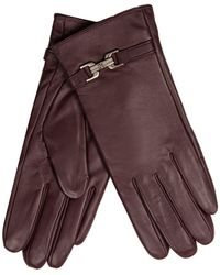 J By Jasper Conran - Dark Red Buckle Detailed Leather Gloves - Lyst