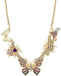 Red Herring - Gold Crystal Bee And Butterfly Statement Necklace - Lyst