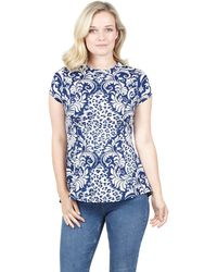 Izabel London - Blue Floral Printed Peplum Top - Lyst