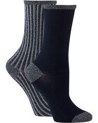 Tommy Hilfiger - 2 Pack Navy Sparkly Stripe Ankle Socks - Lyst