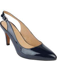 Lotus - Navy Patent 'nadia' Mid Heel Slingbacks - Lyst