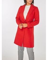 Dorothy Perkins - Red Single Breasted Coat - Lyst
