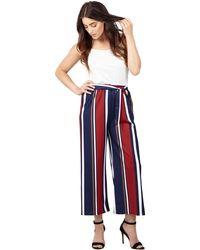 Izabel London - Navy Striped Wide Leg Trousers - Lyst