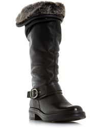 Dune - Black Leather 'torie' Knee High Boots - Lyst