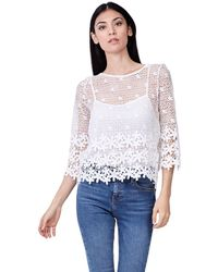 Izabel London - White Flower Detailed Lace Top - Lyst