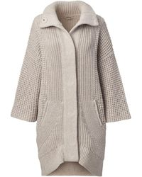 Lands' End - Beige Petite Merino Blend Funnel Coat - Lyst