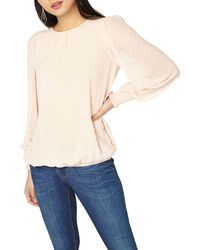 Dorothy Perkins - Petite Pink Dobby Shirred Blouse - Lyst