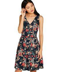 Apricot - Navy Brushstroke Floral Print Dress - Lyst