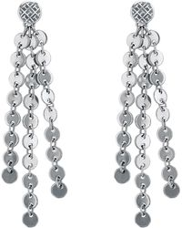Tommy Hilfiger - Silver 'classic Signature' Hanging Disc Earrings - Lyst