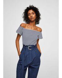 Mango - Navy And White Stripe Print 'janire' Bardot Neck Top - Lyst