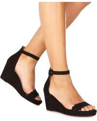 Faith - Black Suedette 'dust' Mid Wedge Heel Ankle Strap Sandals - Lyst
