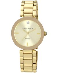 Anne Klein - Ladies Diamond Dial Gold-tone Bracelet Watch Ak/n1362chgb - Lyst