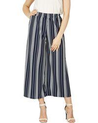 Izabel London - Navy Striped Wide Trousers - Lyst