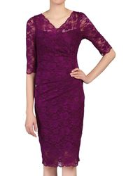 Jolie Moi - Plum 3/4 Sleeves V Neck Ruched Lace Dress - Lyst