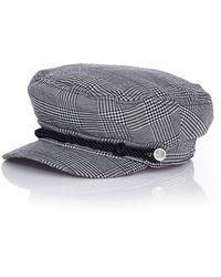 Quiz - Grey Check Baker Boy Hat - Lyst