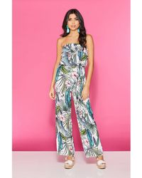 Quiz - Cream Green And Pink Tropical Jumpsuit - Lyst