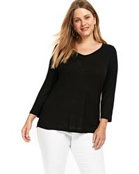Evans - Black V-neck Top - Lyst