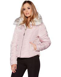 Quiz - Pink Short Padded Jacket - Lyst