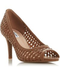 Dune - Tan Leather 'cruise' Mid Stiletto Heel Court Shoes - Lyst