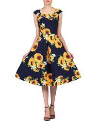 Jolie Moi - Navy Floral Print Scoop Neck Tea Dress - Lyst