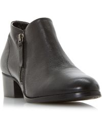 Dune - Black Leather 'padington' Block Heel Ankle Boots - Lyst