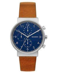 Skagen - Men's Brown Quartz Leather Strap Watch - Lyst