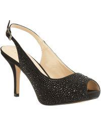 Lotus - Black Diamante 'astro' High Stiletto Heel Slingbacks - Lyst