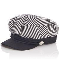 Quiz - White Stripe Baker Boy Hat - Lyst