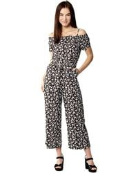 Izabel London - Black Bardot Wide Leg Jumpsuit - Lyst