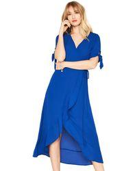 03cb1ac10210 Oasis - Blue Plain Tie Sleeve Wrap Midi Dress - Lyst