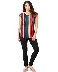 Izabel London - Red Stripe Print Turn Up Sleeve Top - Lyst