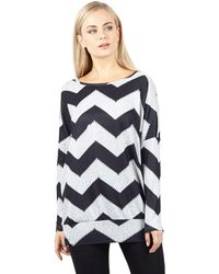 Izabel London - Navy Zig Zag Print Top - Lyst
