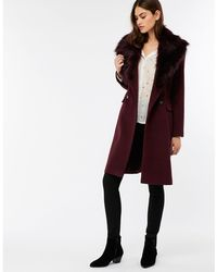 Monsoon - Purple 'harry' Crombie Coat - Lyst