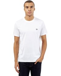 d7a4fc76c025 Fred Perry Crew Neck T-shirt in White for Men - Lyst